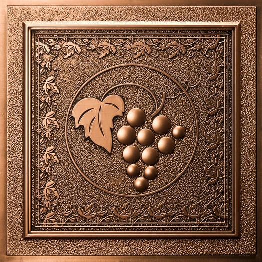 Grape Vines Ceiling Tile Antique Bronze Waterproof