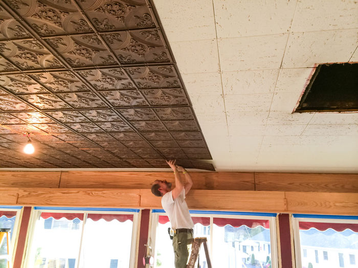 Antique Bronze Ceiling Tile Installation
