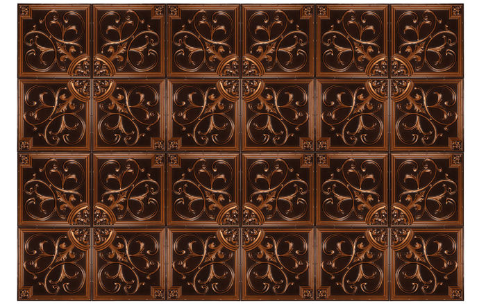 2x2 Antique Copper Ceiling Tiles in Grid