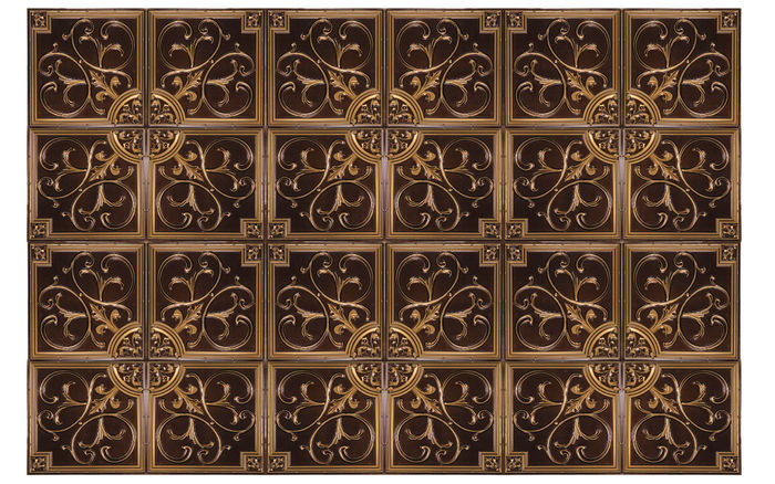 Antique Gold Florence Ceiling tile in a Grid