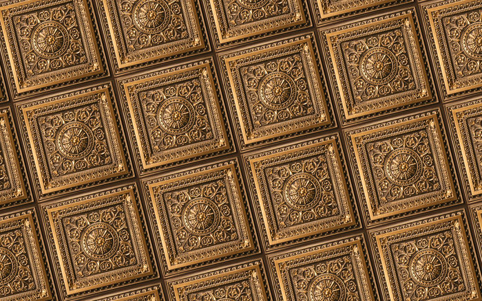 Antique Gold Ceiling Tile in Ceiling Grid
