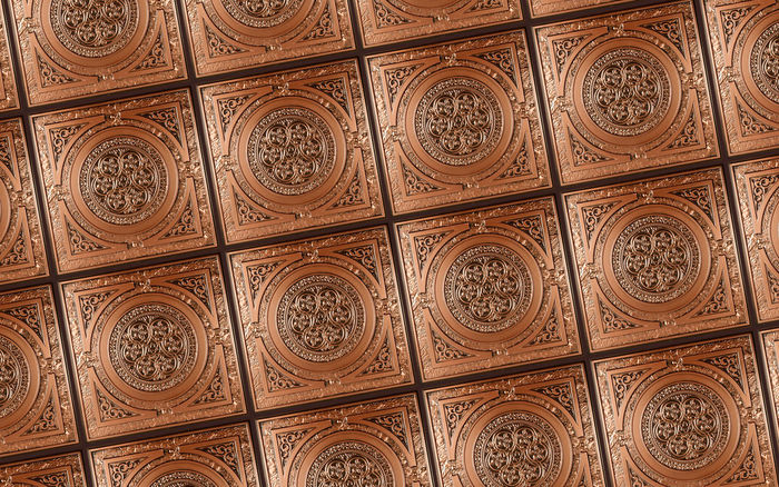 2x2 Messina Antique Copper Ceiling Tile in a Grid