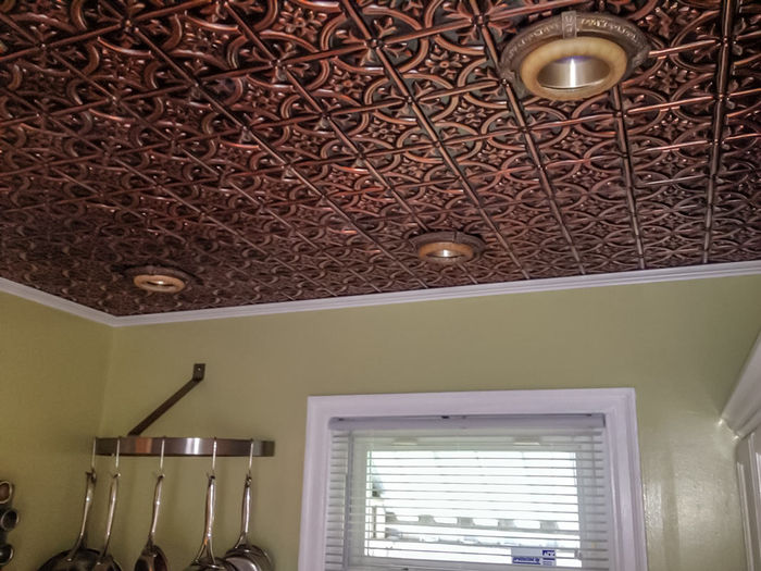 Direct Mount Installation of Antique Copper Ceiling Tile