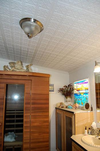 Fleur De Lis Direct Mount Ceiling Tiles White