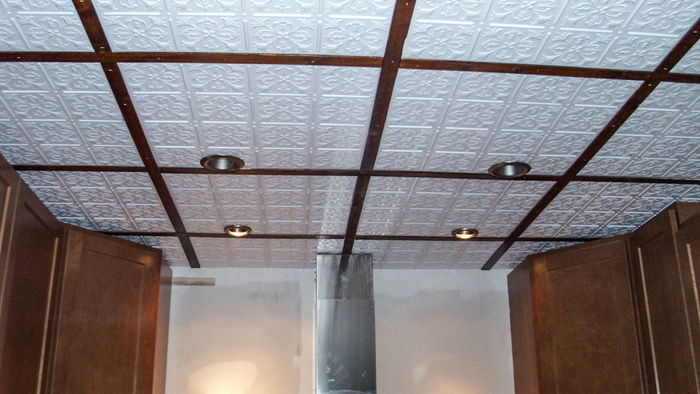 Fleur de lis direct mount ceiling tiles white white grid strips shown with the stratford tile doublecrazyfo Choice Image
