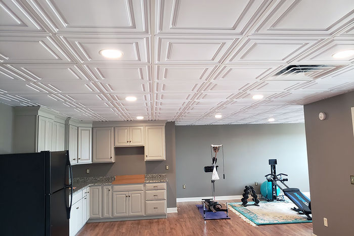 Stratford 2x4 Ceiling Tile used in a Basement