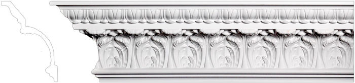 Front leaf design crown molding