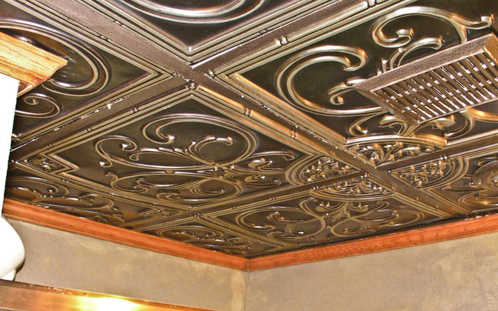 Customer Installation of Florence Antique Silver Ceiling Tile