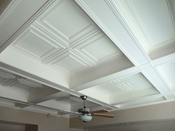 Glue Up Ceiling Tile in Coffered Ceiling