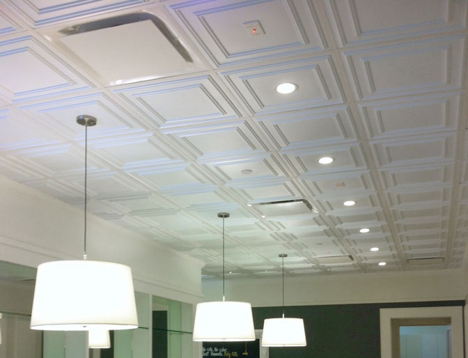 Finished Ceiling Tile Project using Cambridge Tiles