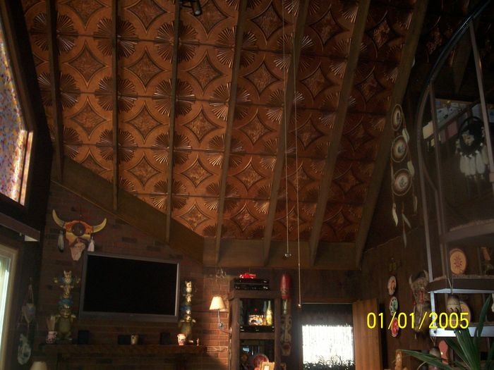 Decorative Glue Up Ceiling Tile in Home