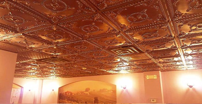 Alexander Copper Ceiling Tile in Grid