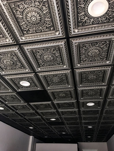Milan Antique Silver 2x2 Ceiling Tile in a Grid