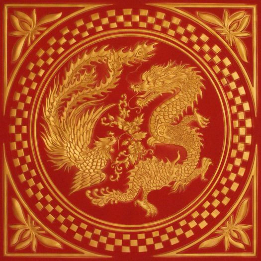 Red Dragon Tile : Chinese dragon ceiling tile