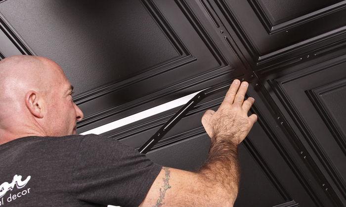 Stratford Vinyl Drop Ceiling Tiles Black 2x4 Ceiling Tiles