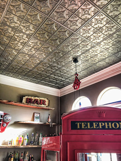 Decorative Ceiling Tiles in a Ceiling Grid