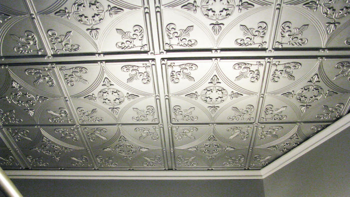 Cathedral Silver Ceiling Tile Pictured in a Grid