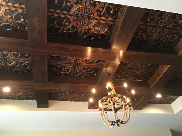 Florence 2x2 Antique Copper Ceiling Tile Installation