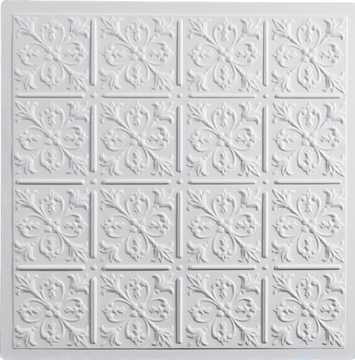 Fleur de lis direct mount ceiling tiles white dailygadgetfo Images