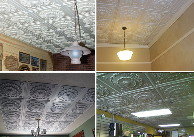 Installed Pictures of Medallion Ceiling Tile