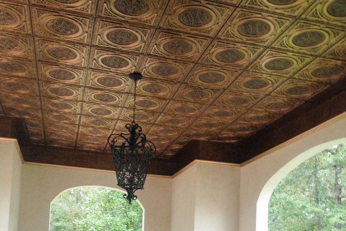 Antique Copper Decorative Ceiling Tile Installatoin