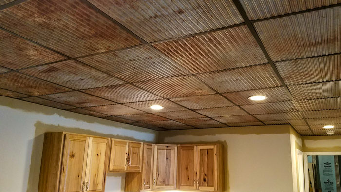 Old Tin Roof used as a 2x2 Kitchen Ceiling Tile