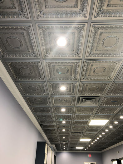 Faux Tin Ceiling Tile in a Salon