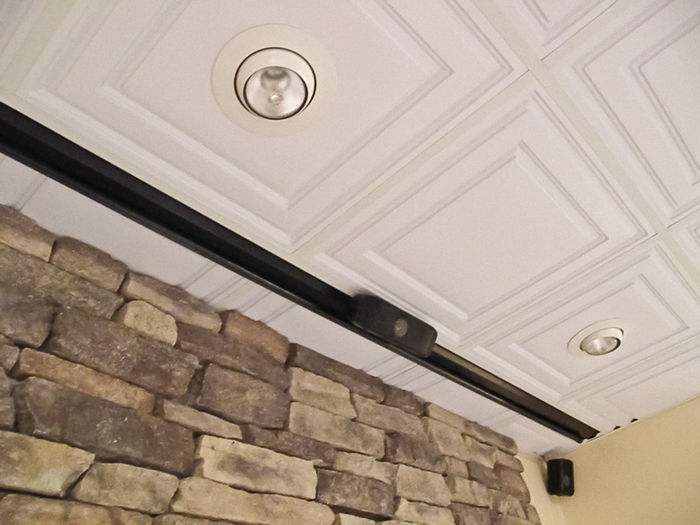 Stratford Ceiling tiles being used with canned and track lighting