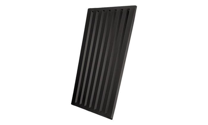 black striped ceiling tiles