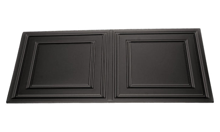 Angled view of a Black Stratford 2x4 Ceiling Tile