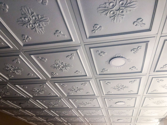 Veranda Ceiling Tile Installation with Canned Lights