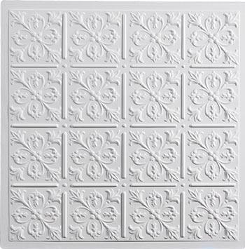 Fleur-de-lis Ceiling Tile - White